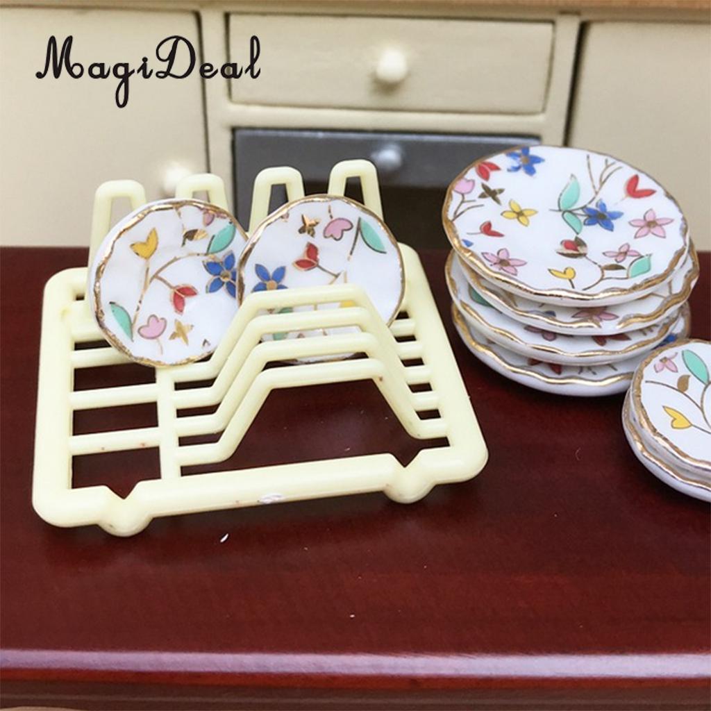 1//12 Dollhouse Decor Miniature Dish Rack Kitchen Tableware Room Accessory