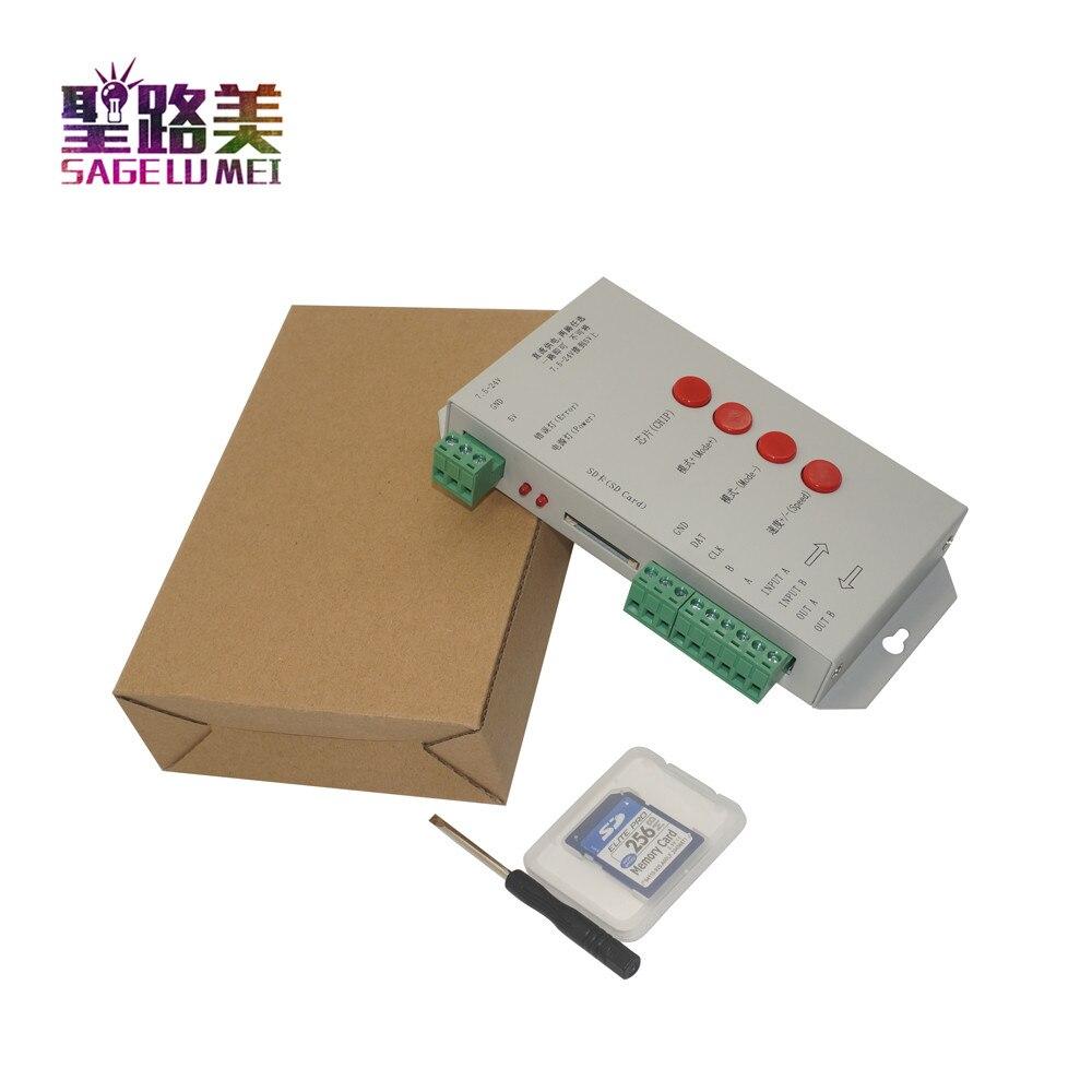 T1000S SD כרטיס WS2801 WS2811 WS2812B LPD6803 LED 2048 פיקסלים בקר DC5 ~ 24 V T-1000S RGB LED בקר