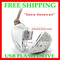 Free shipping - real Capacity 4GB 8GB 16GB 32GB metal Heart Shaped USB Flash Drive Disk Necklace Jewelry USB Flash Disk in stock