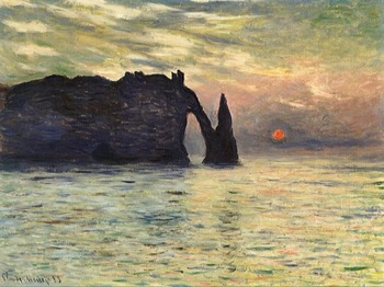 High quality Oil painting Canvas Reproductions The Manneport, Cliff at Etretat, Sunset (1883)  By Claude Monet hand painted
