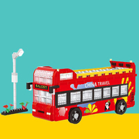 Legoed Double Decker City Sightseeing Bus Building Blocks Car Model Decoration Assembling Particles Toys Educational Kids Toys
