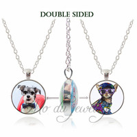 Fashion Vintage Jewelry Dog Men Glass Cabochon Double Face Pendants Handmade Choker Necklaces Silver Plated Necklace