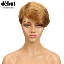 Дебютные парики для черных женщин бразильские Реми Короткие прямые человеческие волосы парики боковая часть Омбре парик человеческих волос для мам