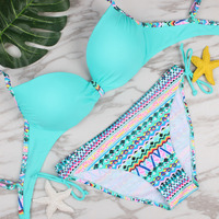 Bikini 2017 Swimwear Women Halter Vintage Bathing Suit Bikini Push Up Padding Sexy Brazilian Tropical Swimsuit