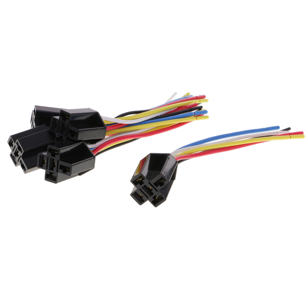 5 pieces dc12v 80amp car spdt automotive relay 5 pin 5 wires harness socket [ 1024 x 1024 Pixel ]