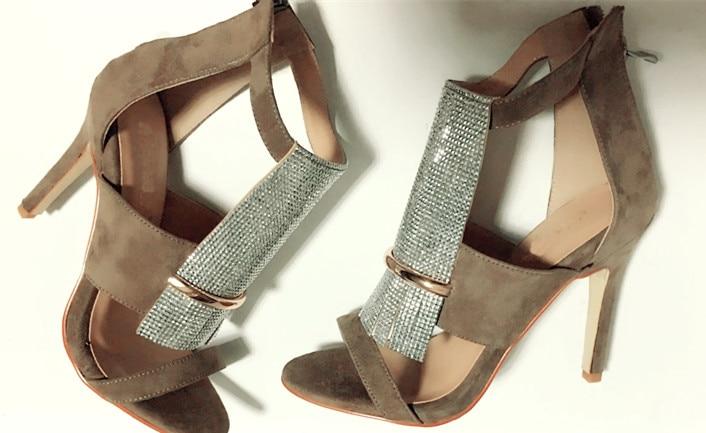 ФОТО 2017 New style women pumps stiletto high heel  summer sandals concise design khaki color can choose  zipper closure type