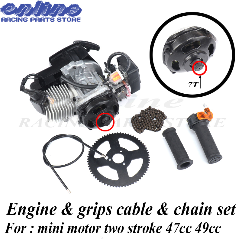 40 6 7T Engine & Throttle cable Grips & chain Sprocket kit For 43cc 47cc 49cc Mini Dirt Pocket Bike Kids Baby ATV Quad Mini moto-in Engines from Automobiles & Motorcycles    1
