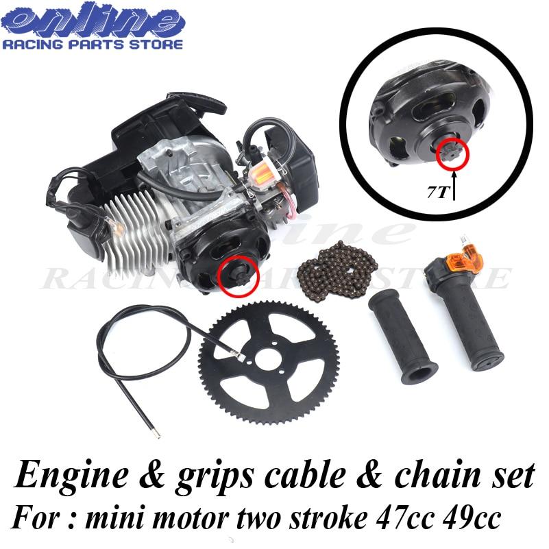 7 40-6 t Motor & cabo Do Acelerador Grips & kit carreto Para 43cc 47cc 49cc Mini Dirt bicicleta do bolso Do Bebê Dos Miúdos ATV Quad Mini moto