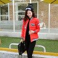 2016 Nueva moda mujer chaqueta de invierno cálido chaquetas abrigo de invierno gorra de Béisbol 96% algodón abajo chaqueta de invierno de Las Mujeres femeninas C0014