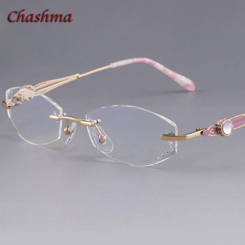 Chashma marque lentilles colorées mode lunettes cadre lunette de vue femme sans monture titane armacao para oculos de grau feminino