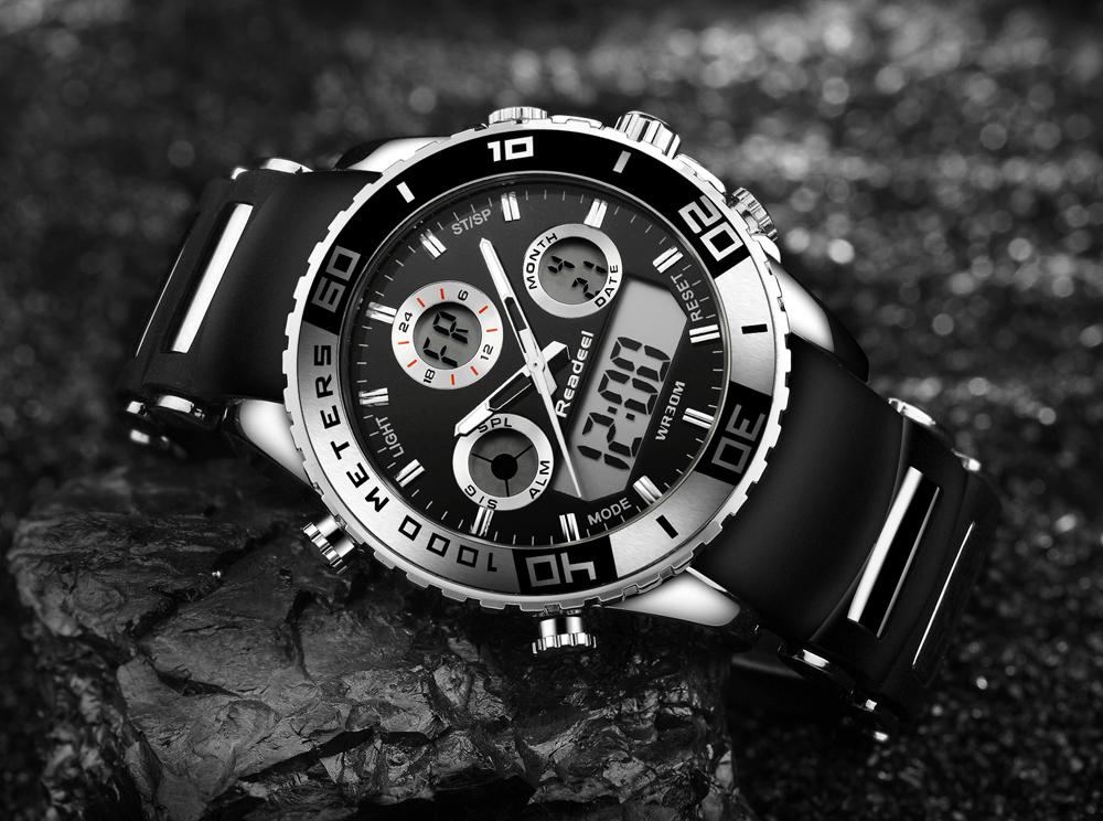 Rubber Band LED Digital Men's Sports Quartz Watch