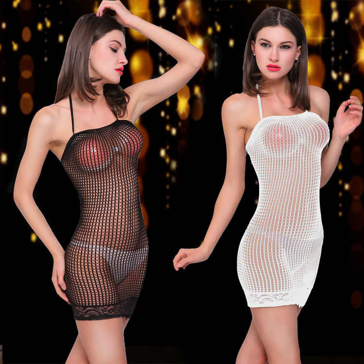 Sexy Halter Underwear Babydoll Dress Pvc Catsuit Women's Hollow Out Netting Perspective Push Up Fetisch Latex Vetement Femme Ez*