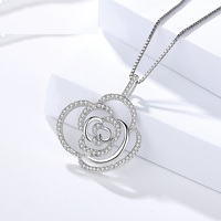 Fine Jewelry Genuine 925 Sterling Silver Female necklace Big hollow cute rose flower pendant with zircon stone neckalce women
