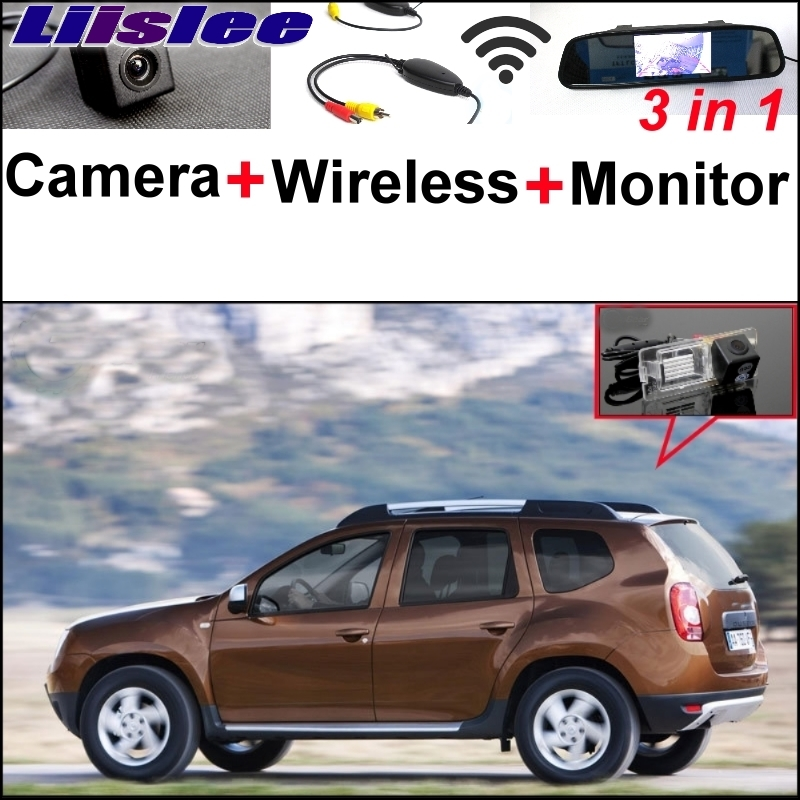 Liislee For Dacia Duster 3 in1 Special Rear View Camera + Wireless Receiver + Mirror Monitor Easy DIY Back Up Parking System wireless receiver mirror monitor diy back up parking system for toyota sportsvan 3 in1 special rear view camera