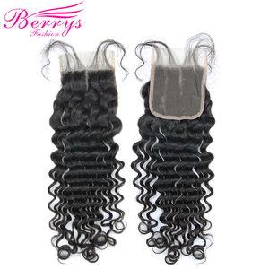 Image 3 - Brazilian Deep Wave 3 Bundles with Lace Closure 4x4 Free Part 100% Human Hair Extension Remy Hair Weaving Berrys Fashion