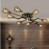 מחקר חדר שינה סלון מנורת תקרת סגנון לופט אמריקנית בציר רוח יצירתיות בית קפה בר waterpipes ברזל תקרת אור מנורות