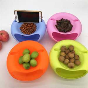 Bowl Plastic Phone-Holder Snack-Storage-Box Lazy-Snack Creative-Shape Double-Layers Dropship