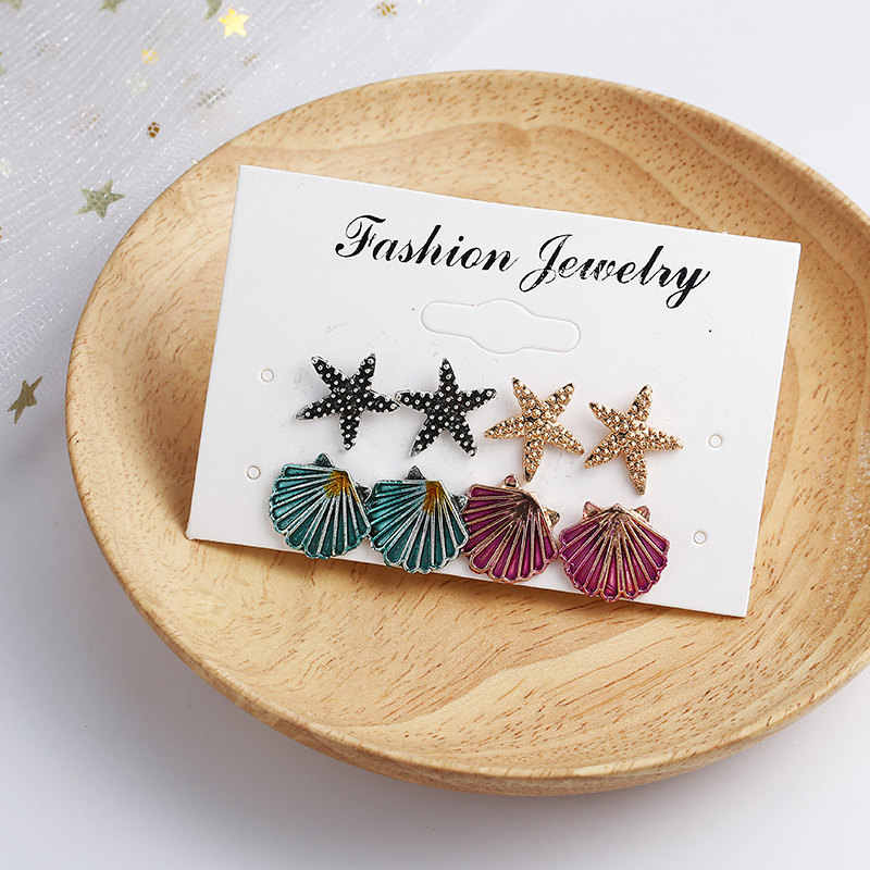 8pcs/set Boho Shell Turtle Anchor Stud Earrings Set For Women Punk Mix Design Geometric Stone Animal Ear Jewelry