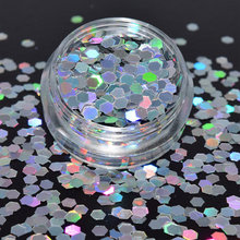1Box glitter  Nail Holographic Hexagon GlitzerPulver 2.00mm silver sequins tinker hologram of holographic new