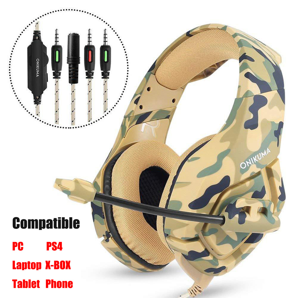 ONIKUMA K1 Casque Camouflage PS4 Headset with Mic Stereo Gaming Headphones for New Xbox One/Laptop Tablet Gamer xiberia v10 pc gamer bass headset gaming for ps4 new xbox one gaming headphones with microphones led light computer game headset