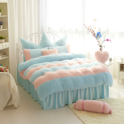Flannel short plush bedding Duvet Cover Set Million Romantic Soft Bedclothes Plain Twill Boho 4Pcs drap de lit Favorite ...