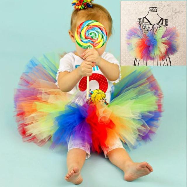 Mullida falda del tutú del cumpleaños Del Bebé Infantil kids party tutu desgaste de la danza Del Arco Iris falda muchachas del niño falda falda del tutú del bebé