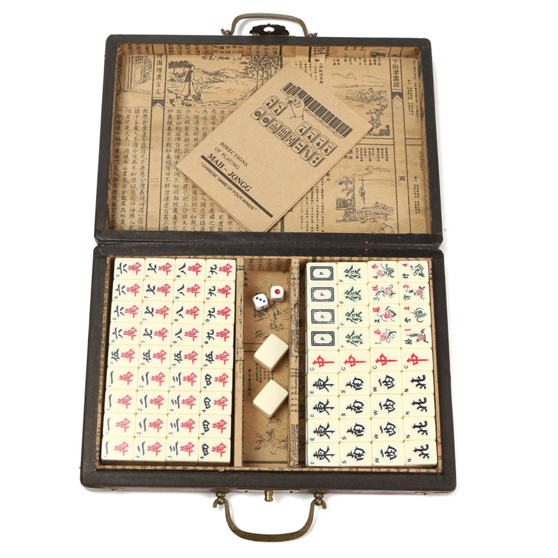 Hot Sale Portable Bamboo Retro Mahjong Box Rare Chinese 144 Mah-Jong Set with Case Box For Board Game Players Ivory Color hot board game camel up funny game for 2 8 players party family game
