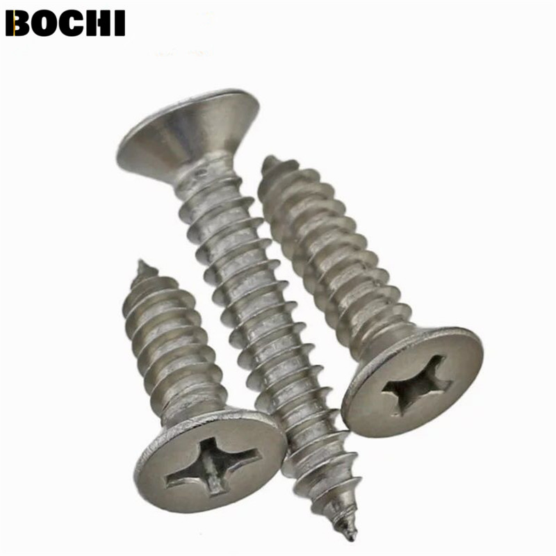 50PCS GB/T846 201 Stainless steel M3 M4 M5 countersunk head Cross Recessed Flat Head Screws Phillips Self-tapping Wood Screws niko 50pcs chrome single coil pickup screws
