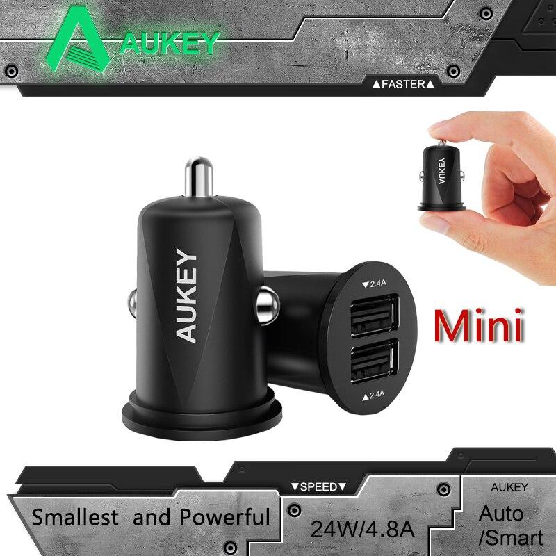 imágenes para AUKEY 4.8A Universal Mini de Alta Calidad de 2 Puertos Usb para el Coche cargador Inteligente de Carga Del Cargador para Xiaomi & More Teléfono Móvil cargador