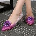 Плюс большой размер обуви, Прекрасный горный хрусталь Градиент Цвета женщины квартиры мокасины обувь Eu44, Кристаллы украшения с острым носом, плоским обувь