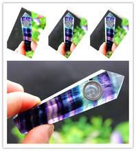 70g Natural quartz crystal fluorite purple stripes smoking pipe cure