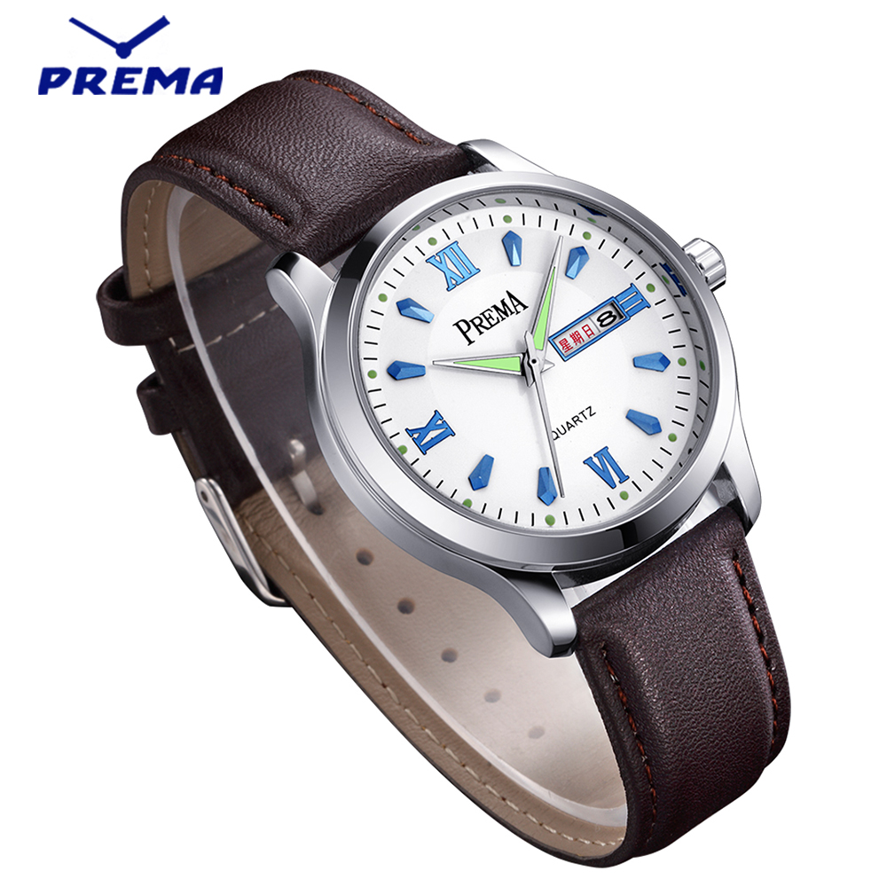 PREMA Brand Watches Men Luxury Brand Leather Strap Waterproof Men Wristwatches Clock Male Quartz Watch Relogio Masculino 2017