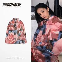 2018 Summer Rose Lapel Button Long Sleeve Shirt Ladies Casual Personality Hip Hop Harajuku Top Flower Full Print T Shirt