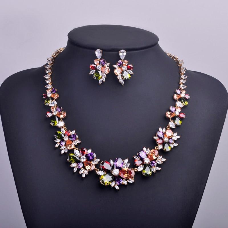Ensembles de bijoux de mariage de mariée de luxe meselected boucles d'oreilles Collier de fleurs en zircon cubique Collier Brincos cristal Bijuterias