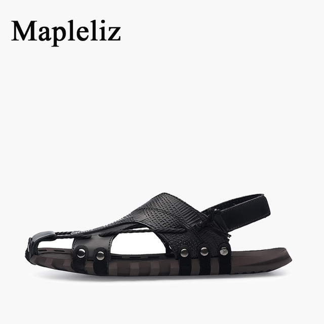 Mapleliz Brand Casual Genuine Leather High Quality Men Sandals Shoes Slip-On Rivet Solid Soft Beach Flat Shoes For Men