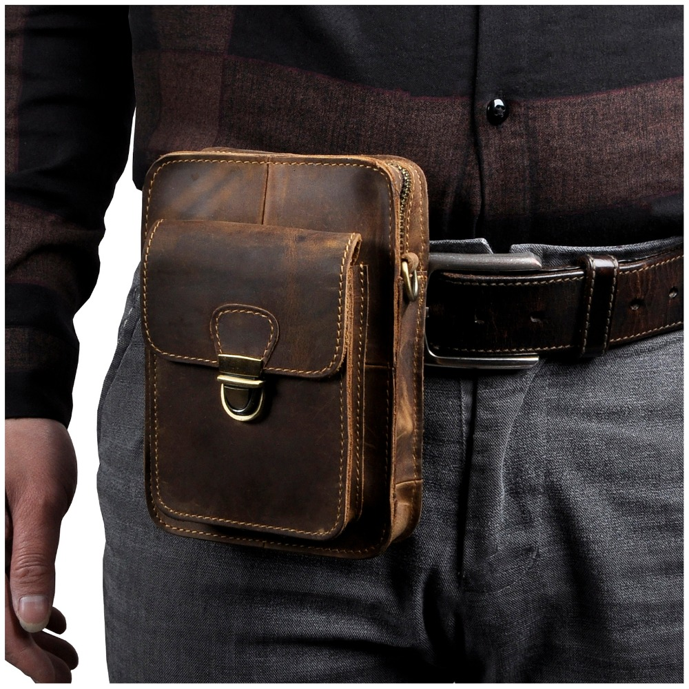 Crazy Horse Leather Men Multifunction Casual Design Small Messenger Bag Fashion Waist Belt Bag 6