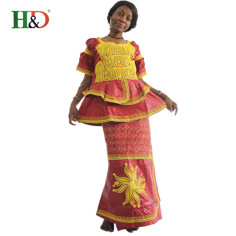H&D African clothing African Bazin Riche For Women Traditional Embroidery Craft Woman Skirt Coat Turban Three-piece Suit M959