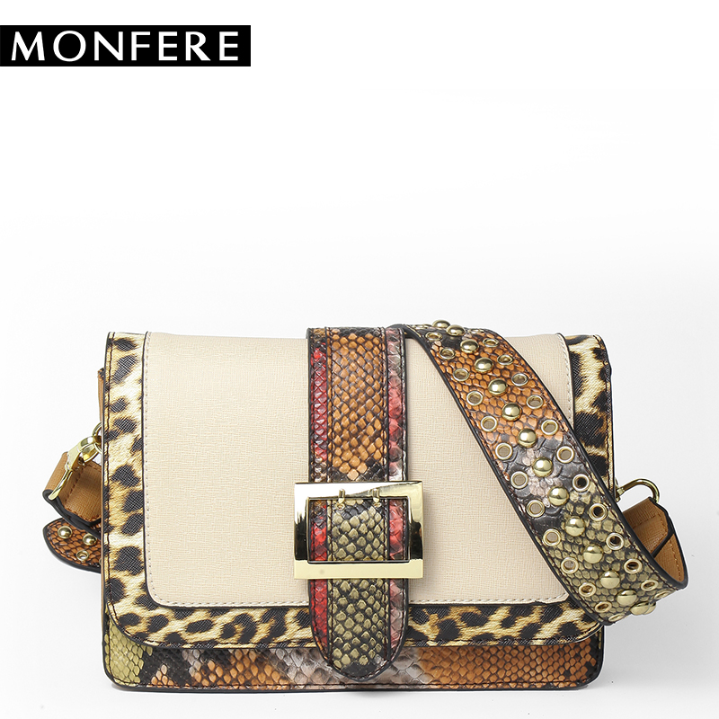 MONFERE Snake Patchwork Shoulder bags for women 2017 rivet handbag leopard PU flap crossbody bag belt buckle strap messenger bag