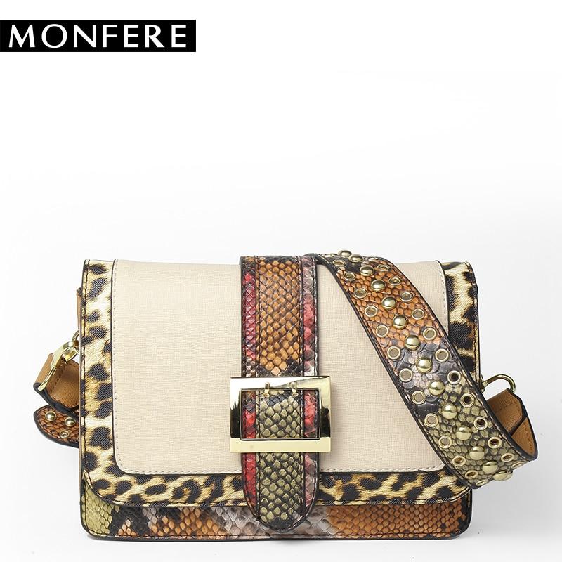 MONFERE Snake Patchwork Shoulder bags for women 2017 rivet handbag leopard PU flap crossbody bag belt buckle strap messenger bag