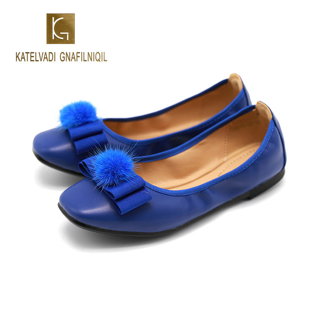 New Women Flat Shoes Summer Shallow Blue PU Faux Fur Pom Pom Butterfly-knot Flat Round Toe Shoes Flat Shoes K-286