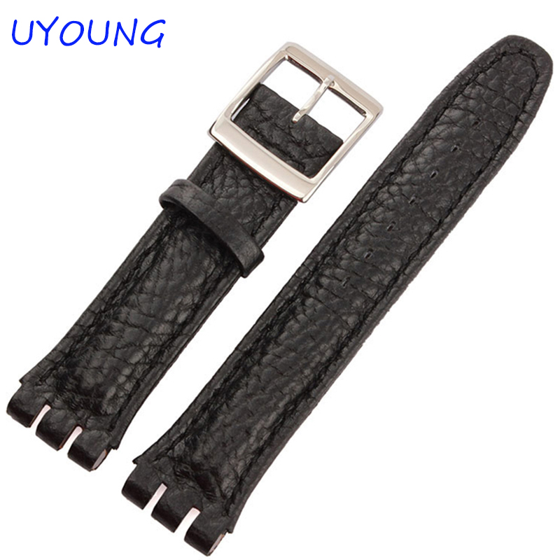 High Quality Genuine Leather Watch Band 19mmCroco Pattern Black Brown Bracelet For Swatch цены