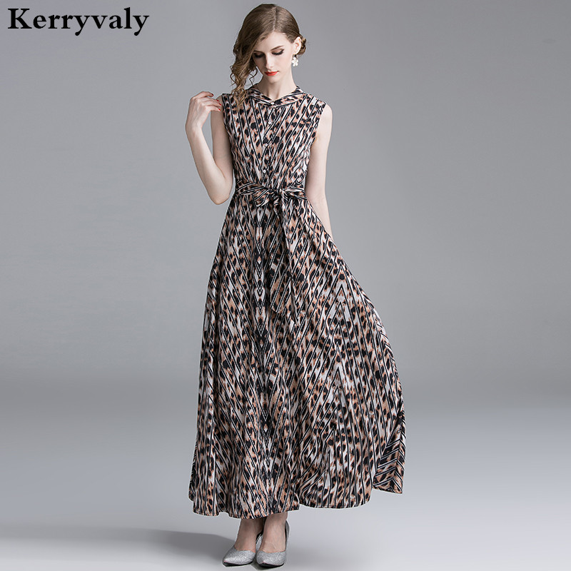 cliente primero garantía de alta calidad fuerte embalaje US $26.66 21% OFF|New Style Retro Leopard Print Summer Maxi Dress Vestidos  Verano 2019 Sleeveless Long Party Runway Beach Dress Robe Femme K3563-in ...