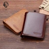 LAORENTOU 100 Genuine Leather Men Short Wallet Vintage Cow Leather Wallets Casual Male Purse Standard Card