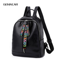 079831e5a8 New Popular PU Leather Girls Backpack Large Capacity With Headphone Hole  Solid Color Women s Rucksack Can