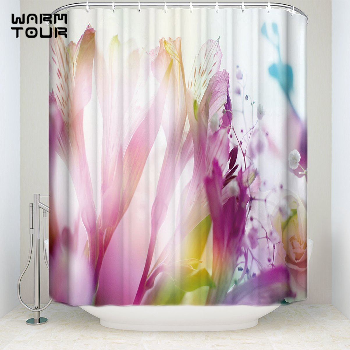Us 16 23 30 Off Extra Long Fabric Bath Shower Curtains 36 X 78 Inches Abstract Gradient Flowers Mildew Resistant Bathroom Decor Sets With Hooks In