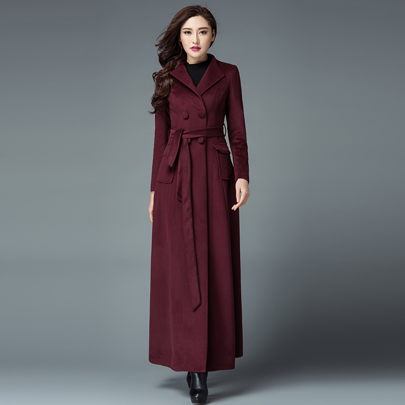 383f71135dc aeProduct.getSubject() 2017 New Fashion Winter Women S Double Breasted Wool  Coat Plus Size Long Trench Coat Black ...