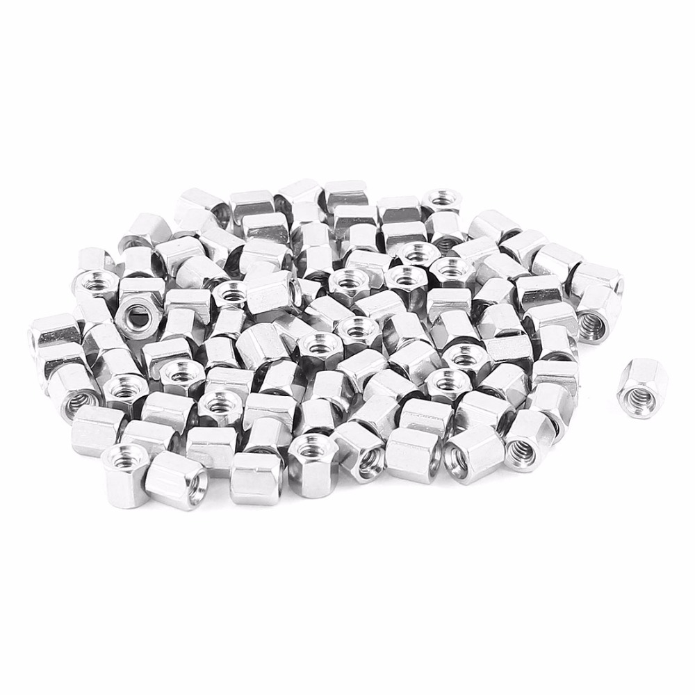 UXCELL 100pcs/lot #4-40 5mm Female Thread Brass Hex Nut Spacer Standoff Pillar With Hex Head And Constructed Silver Tone