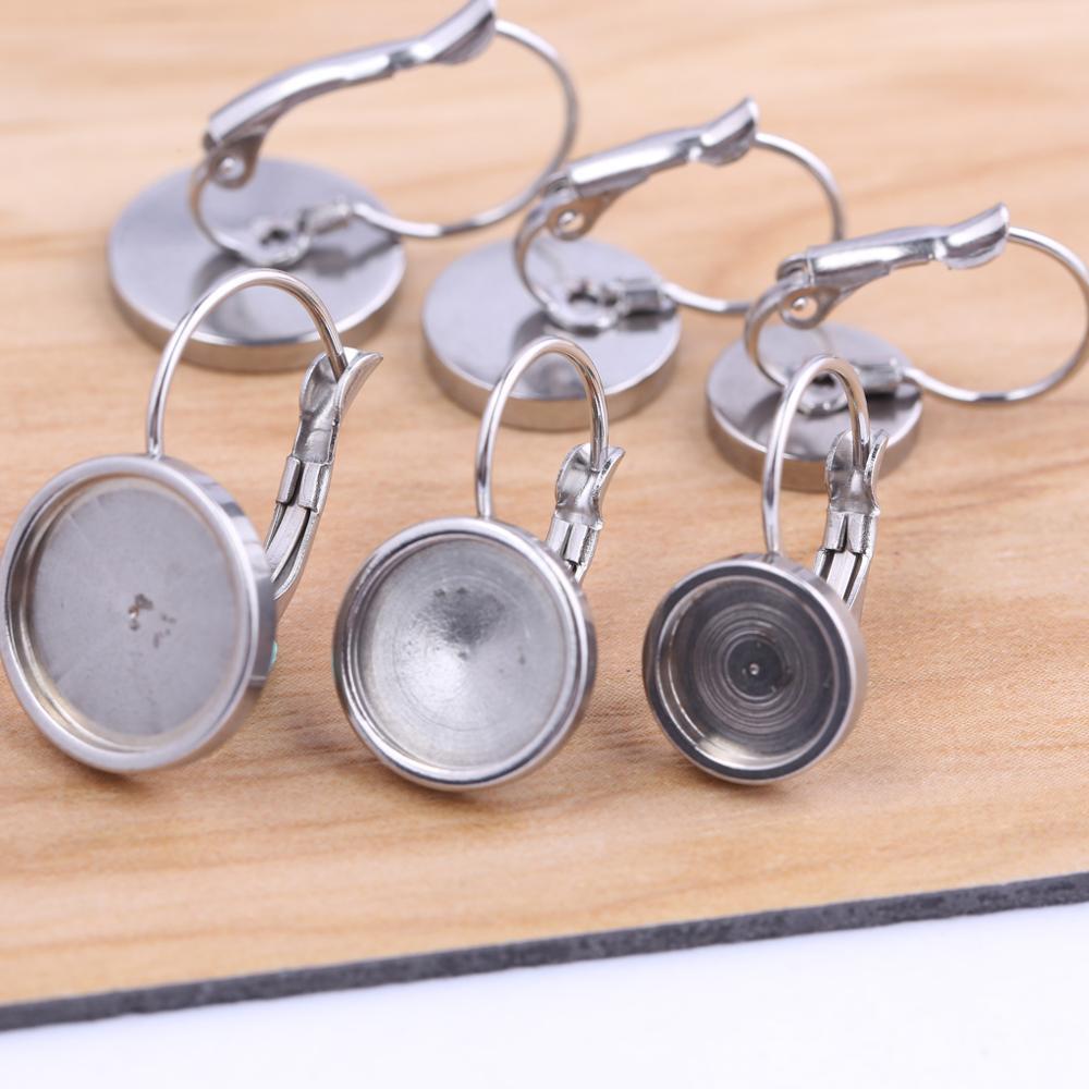 Onwear 10pcs Fit 8mm 10mm 12mm Cabochon Earring Base Settings Stainless Steel Lever Back Bezel Blanks Diy Jewelry Findings