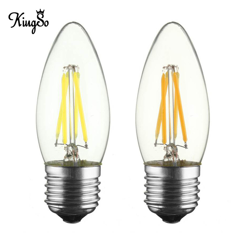 Kingso E27/E26 C35 4W LED Filament Candle Light Bulb Dimmable 400Lumen Chandelier Candelabra Edison Antique Vintage Lamp AC110V карандаш для губ limoni lip pencil 27 цвет 27 variant hex name da9689