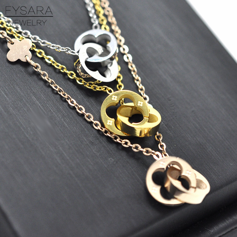 FYSARA Classic Brand Love Two Circle Double Buckle Necklace Hollow Clover Pendant Necklace Female Stainless Steel Gold Clavicle